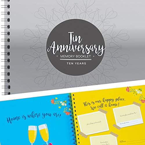 Tenth Wedding Anniversary Gift For Couples, 10th Anniversary Memory Keepsake Book, 10 Year Anniversary Gifts For Husband & Wife To Document Special Memories, 8X8 Inches, 24 Pages, Stickers Included!