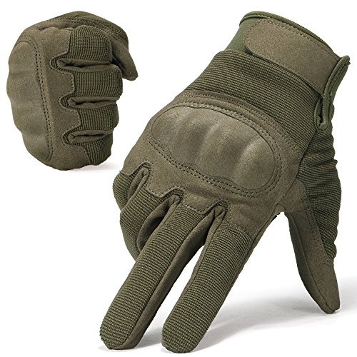 JIUSY Military Shooting Hard Knuckle Tactical Gloves for Airsoft Paintball Motorcycle Cycling Riding Hunting Hiking Army Combat Touch Screen Full Finger Gloves Size Green Medium B16