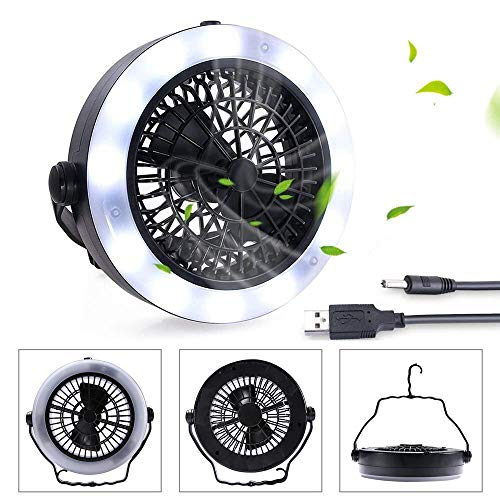 KEIMIX Camping Fan with Lights, USB Powered or Battery Operated, The Best Camping Equipment for Truck Tent, Fishing, Emergencies, Hurricanes, Outages -