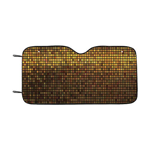 Abstract Durable Car Sunshade,Gold Disco Theme Pattern Squares Digital Effect Pixel Mosaic Geometric Design for car,55