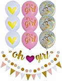 Baby Shower Decorations For Girl Pink and Gold Theme: OH GIRL Banner, Glitter Bunting Banner, Polka Dot Garland, 9 Balloons: It's a Girl, Heart, Gold Confetti + Ribbon | Matching Party Decor