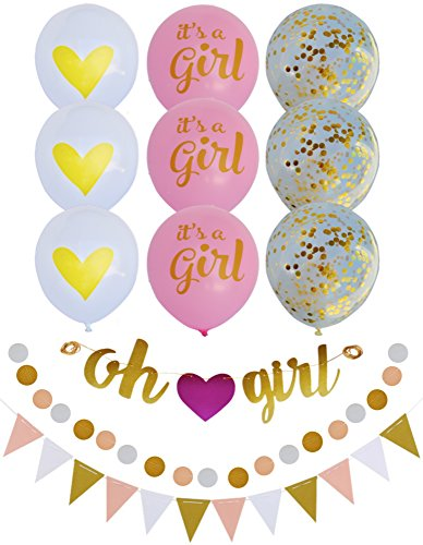 Baby Shower Decorations For Girl Pink and Gold Theme: OH GIRL Banner, Glitter Bunting Banner, Polka Dot Garland, 9 Balloons: Its a Girl, Heart, Gold Confetti + Ribbon | Matching Party Decor