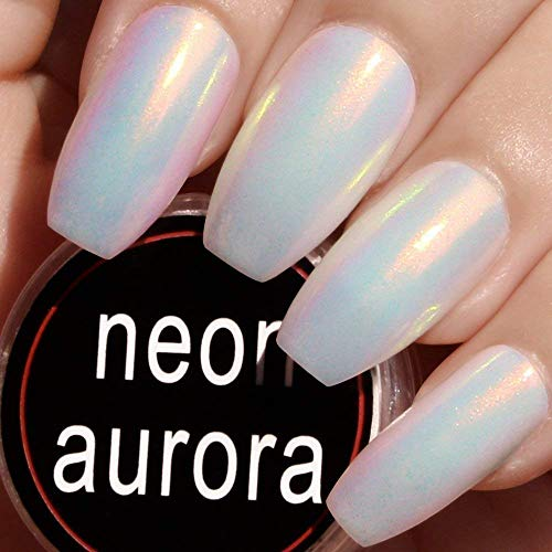 Nail Powder White Super (KASI Mermaid Chrome Nail Powder - White Neon Aurora Pigment Iridescent Powder for Nail Art Design with 3D Pearl Mirror Effect 0.5g)
