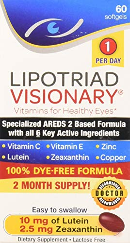 Lipotriad Visionary 1 Per Day AREDS 2 Eye Vitamin & Mineral Supplement | All 6 key ingredients in the AREDS 2 Study | Dye Free, Low Zinc, Safe for Smokers, Easy to Swallow | 2 Mo Supply - 60ct