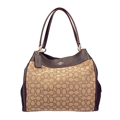 COACH Lexy Shoulder Bag in Outline Signature khaki/chalk F57612 (Khaki/Brown) by Coach