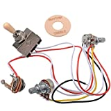 GETMusic Electric Guitar Wiring Harness Prewired Kit 3 Way Toggle Switch 1 Volume 1 Tone 500K