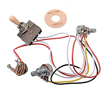 amazon com getmusic electric guitar wiring harness prewired kit 3 Aircraft Wire Harness amazon com getmusic electric guitar wiring harness prewired kit 3 way toggle switch 1 volume 1 tone 500k pots for les paul guitar musical instruments