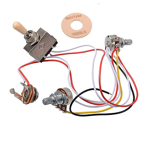 GETMusic Electric Guitar Wiring Harness Prewired Kit 3 Way Toggle Switch 1 Volume 1 Tone 500K Pots for Les Paul Guitar