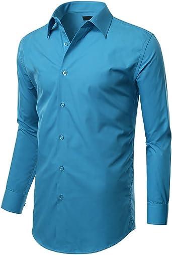 HWBY - Camisa de Vestir para Hombre, Ajustada, elástica, Tallas de S a XXL - Azul - Small/36-36ö: Amazon.es: Ropa y accesorios
