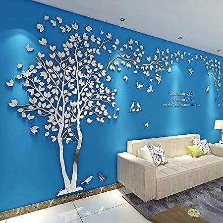 L, verde Asvert Adesivo Murale Albero Acrilico 3D Adesivo Murale Facile da Installare e Applicare Adesivo Decorativo Fai da te Decorazioni per la casa Foglie Blu con Cornici a Sinistra.
