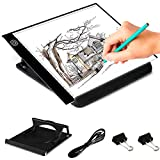Kebo LED Light Box Tracer A4 Ultra-Thin Portable Copy Pad Adjustable LED Drawing Light Pad for Tattoo Drawing, Stencil, Sketching, X-ray Viewing Including Scale and Holder