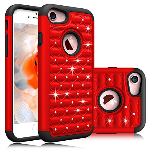 iPhone 7 Case, EC™ Dual Layer Studded Rhinestone Bling Hybrid Diamond Shockproof Case Cover for iPhone 7 4.7inch (Red) - New Red Rhinestone