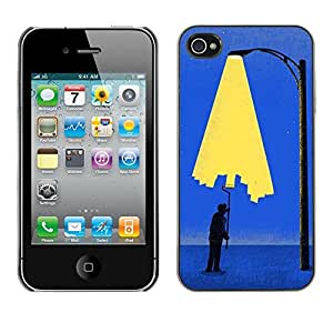 Shell-Star Arte & diseño plástico duro Fundas Cover Cubre Hard Case Cover para Apple iPhone 4 / iPhone 4S / 4S ( Painting City Light Wall Street Art Lamp Post )