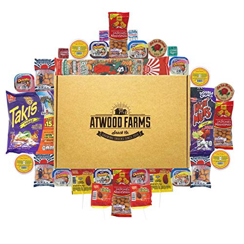 Mexican Snack Food Gift Box - (31) Classic Mexican Favorites - Japanese Peanuts, Takis Fuego, Duvalin, Oblea (Mexican Candy Variety)
