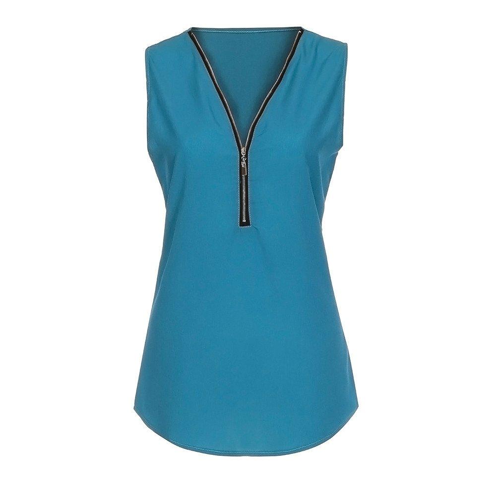 iLUGU Women Zipper Cami Casual V Neck Blouse Ladies Vest Men Summer Loose T Shirt Sky Blue