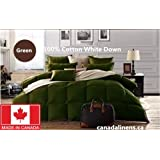 100% COTTON WHITE DOWN DUVET MADE IN CANADA Green