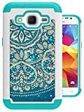 Prevail LTE Case, Core Prime Case, MagicSky [Shock Absorption] Studded Rhinestone Bling Hybrid Dual Layer Armor Defender Protective Case Cover for Samsung Galaxy Core Prime / Prevail LTE 4G(Flower)