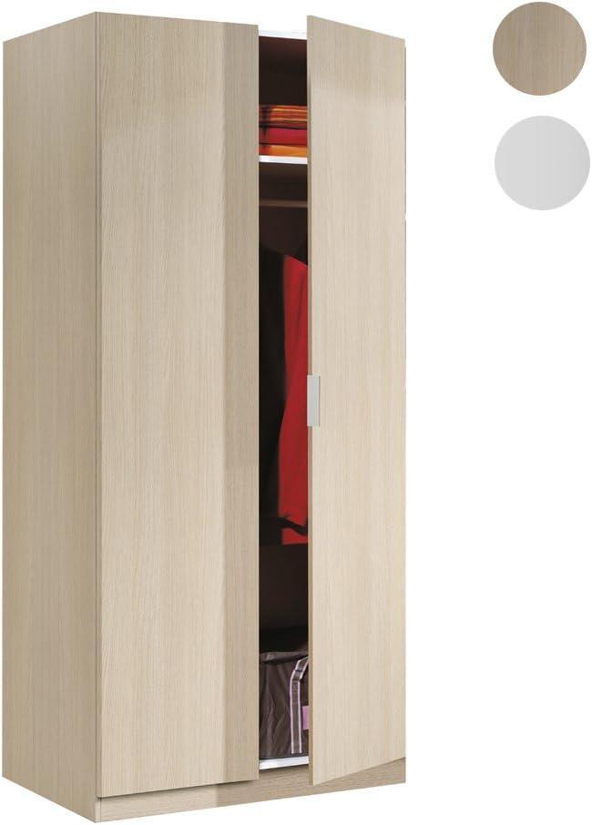 Habitdesign LCX022R - Armario Dos Puertas, Color Roble, Medidas: 81 cm (Largo) x 180 cm (Alto) x 52 cm (Fondo): Amazon.es: Hogar