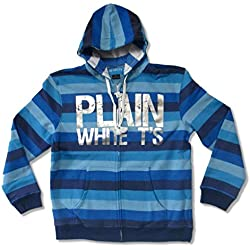 Plain White T's Foil Logo Blue Striped Zip Up Sweatshirt Hoodie (XL)