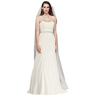 c3483aabece7 David's Bridal Crinkle Chiffon Wedding Dress with Draping Style ...