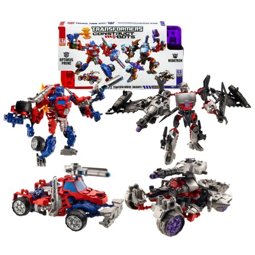 Hasbro Year 2013 Transformers Construct-Bots Series 7 Inch Tall 2 Pack Robot Action Figure Set #E1:01 - OPTIMUS PRIME (Vehicle Mode : Rig Truck) vs. MEGATRON (Vehicle Mode: Battle Tank)