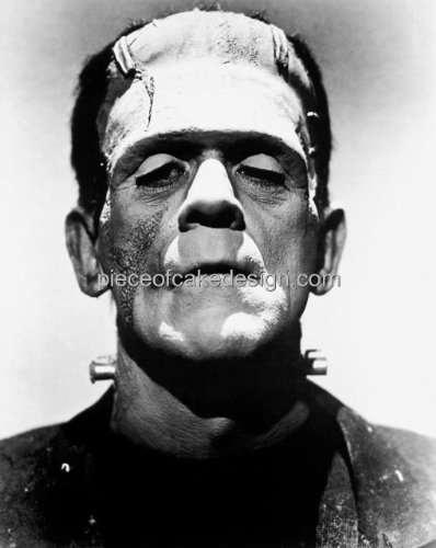 1/4 Sheet ~ Frankenstein Black & White Halloween ~ Edible Cake/Cupcake Topper!!!