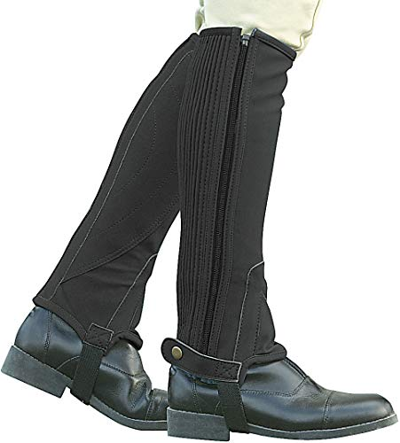 Riding English Chaps - Dublin Adult Easy Care Half Chaps X-Large Black