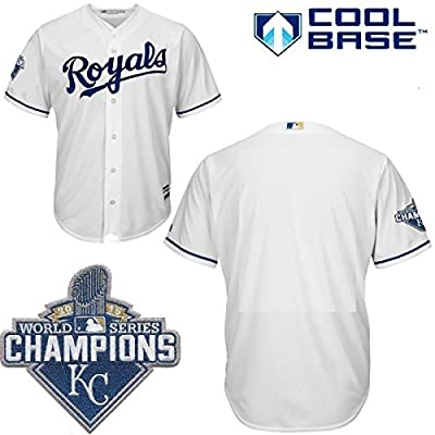 Kansas City Royals MLB Youth 2015 World Series Champions Patch Cool Base Home Jersey (Youth Xlarge 18/20)