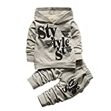 LEEZO 2pcs Baby Girl Boy STYLE Letter Long Sleeved Sweater+Trousers Sports Suit Grey