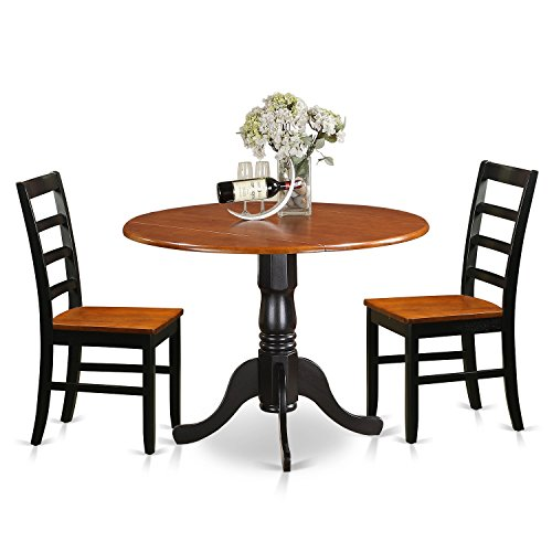 East West Furniture DLPF3-BCH-W 3 Piece Dining Table and 2 Wooden Kitchen Chairs Dublin Set