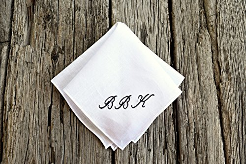 White Irish Linen Handkerchief with Hand Embroidered Monogram Initials ()