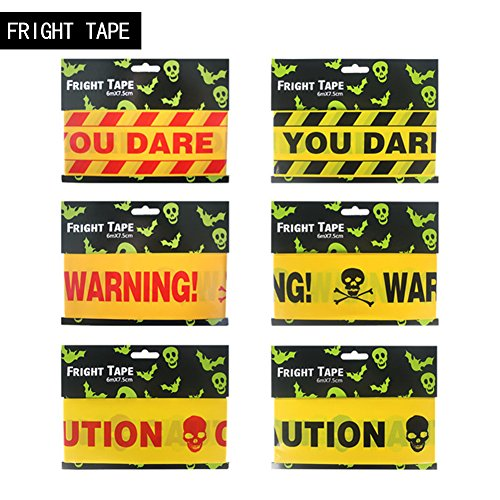 Halloween Giant Gruesome Wall Decorations (Enipate Halloween Party Decorations Fright Tape Creepy Zombie Apocalypse waterproof Haunted Caution Tape Alert Isolation Belt With Skull Red, Black 20 ft/roll (20*0.25ft, Black))