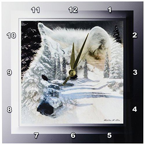 Spirit of The Wilderness White Wolf Wall Clock