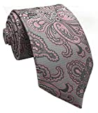 w3dayup mens Classic Tie Necktie Woven Jacquard Neck Gray Pink Paisley Ties For Men BEX018