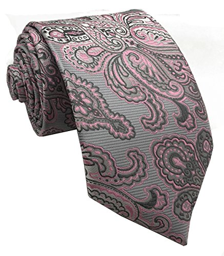 w3dayup mens Classic Tie Necktie Woven Jacquard Neck Gray Pink Paisley Ties For Men - Tie Pink Neck Paisley