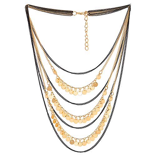 (COOLSTEELANDBEYOND Black Gold Statement Collar Necklace Waterfall Multi-Strand Chains Circle Disc Charms Tassel Dangle)