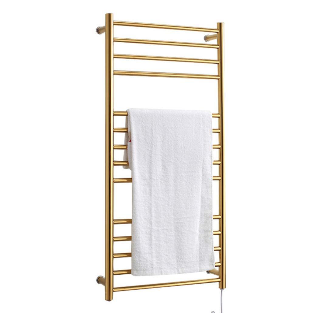 Tutu Round Pipe Wall Mounted Stainless Steel Electric Heated Towel Rail/Bathroom Radiator/Towel Warmer 9006, Golden