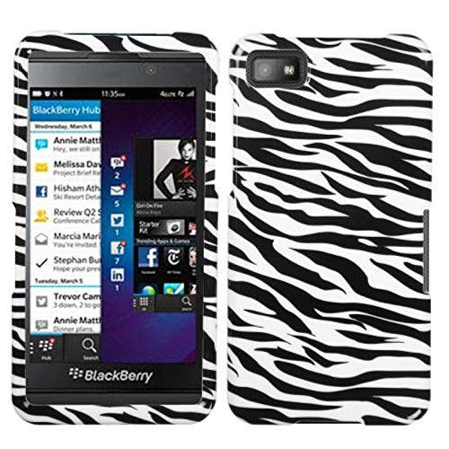 Insten Zebra Rubberized Hard Snap-in Case Cover Compatible with BlackBerry Z10, Black/White