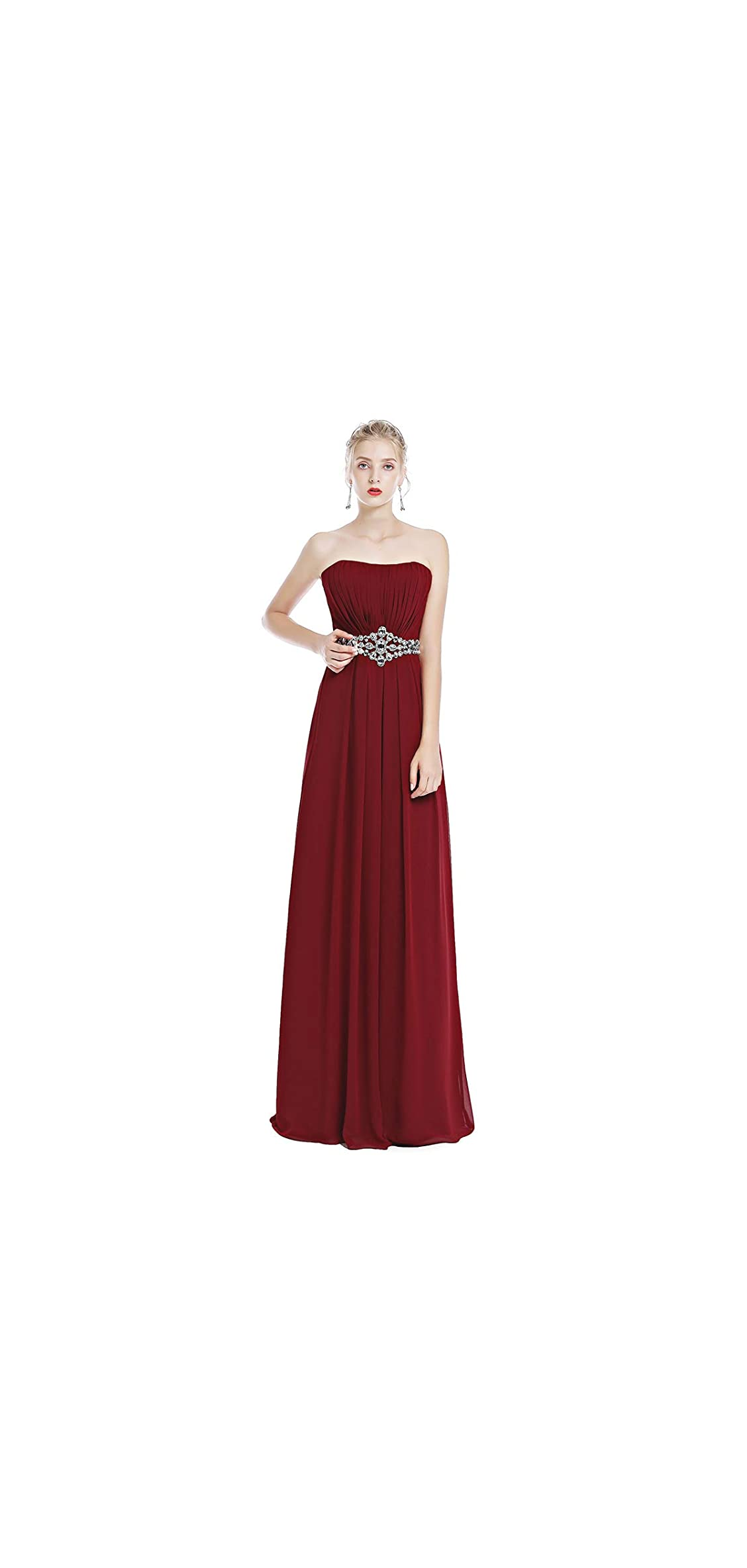 Women Strapless Ruched Long Bridesmaid Evening Maxi Dress