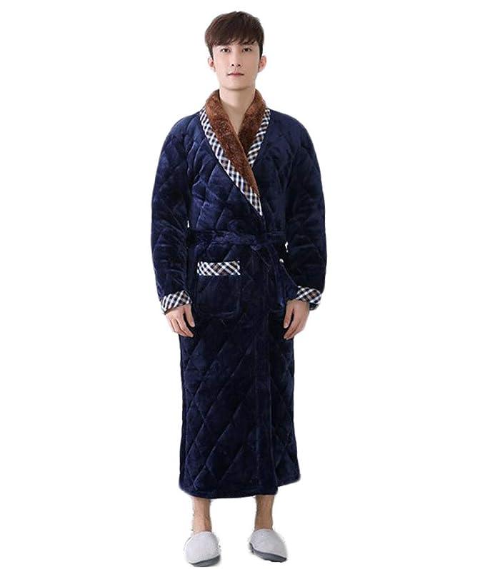 PFSYR Batas de Hombre, camisón de Bata de baño de Franela de Invierno, Pijamas de Hombre, cómodos y Casuales (Color : Azul, Tamaño : L): Amazon.es: Jardín