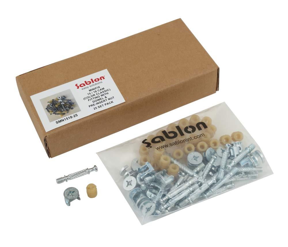 Sablon Minifix 15/18 Cam (Color Classic) Fitting with Dowel & Pre-Insert Nut 25 Set Pack Aktif Yapi Ltd