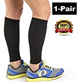 (1Pair) Top1 Knee high Calf Guard Shin Splints Support Compreesion Sleeves, Best for Man and Women With Guard Leg Compression Design - Help Relieve Pain and Reduce Swelling (Pair with one Size fit most) + Free Gift 1 RFID Block Sleeve for Credit Card