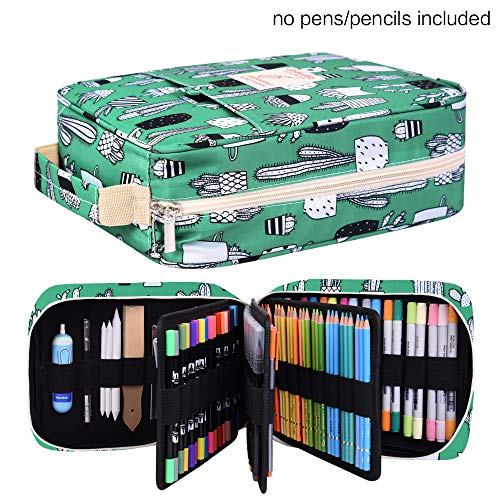 Pencil Case Holder Slot - Holds 202 Colored Pencils or 136 Gel Pens with Zipper Closure - Large Capacity Polyester Pen Organizer for Watercolor Pens or Markers - Perfect Gift for Artist Cactus