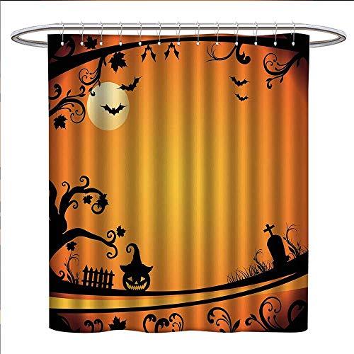 Anzhutwelve Vintage Halloween Shower Curtains Fabric Extra Long