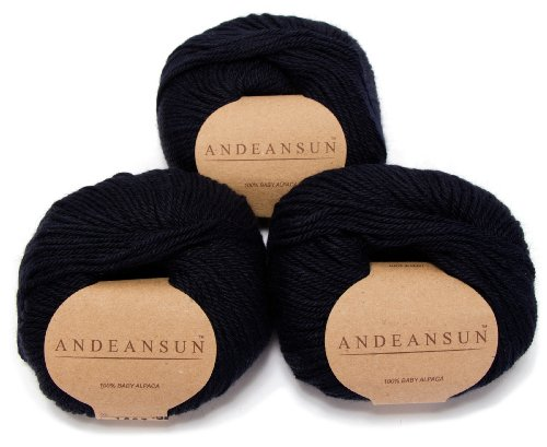 100% Baby Alpaca Yarn Skeins - Set of 3 (Dark Blue) - AndeanSun - Luxuriously soft for knitting, crocheting - Great for baby garments, scarves, hats, and craft projects Ð DARK BLUE (Peru Wool Alpaca Yarn)
