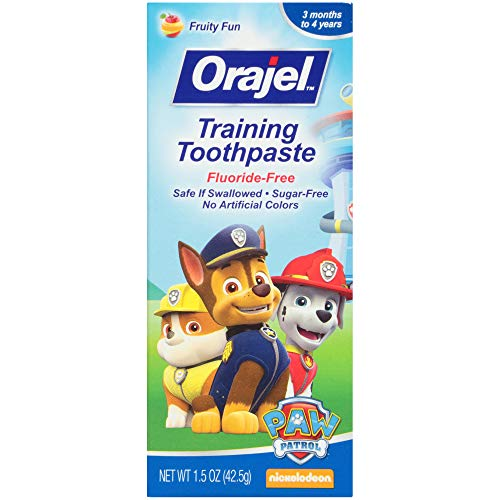 51zp0HgervL - Orajel Paw Patrol Fluoride-Free Training Toothpaste, Fruity Fun Flavor, One 1.5oz Tube: Orajel #1 Pediatrician Recommended Brand For Kids Non-Fluoride Toothpaste