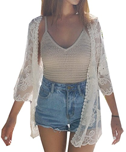 GAGA Women's Casual Lace Crochet Transparent Cardigan Jacket White OS