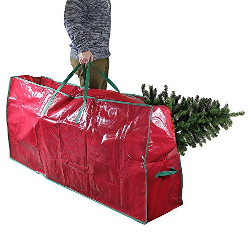 Tree Storage Bag - For Disassembled Artificial Christmas Trees - Deluxe Heavy Duty Construction with Durable Handles - Fits 9-Foot Tree - Red, 30H x 65L x 15W Inches