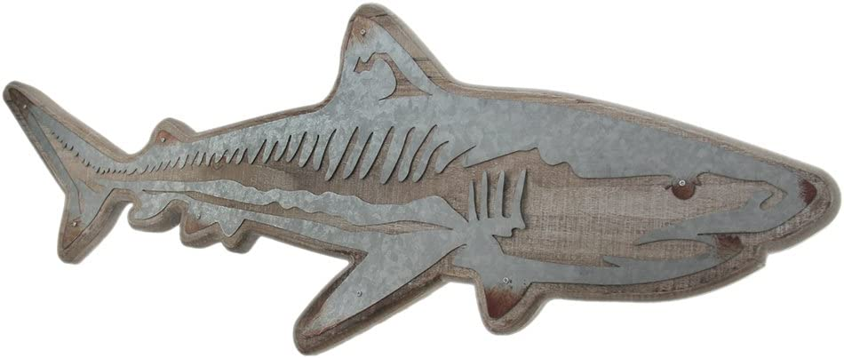 Zeckos Distressed Wood and Galvanized Metal Shark Wall Hanging