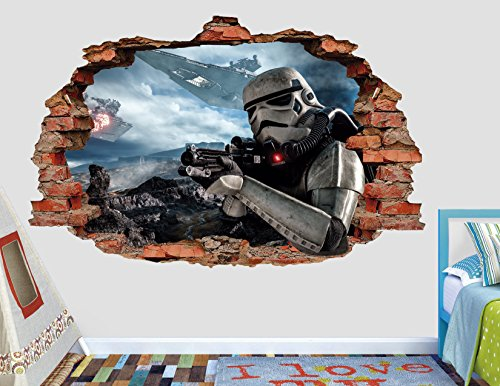 Star Wars Stormtrooper Weapon Attack 3D Sticker Wall Decal Smashed Vinyl Decor Mural Movie - Broken Wall - 3D Designs - AL109 (Large (Wide 40